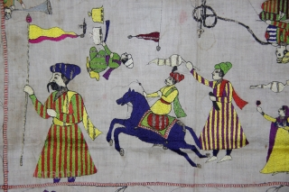 A Rumaal hand-embroidered in the typical style of Chamba, Himchal Pradesh, India. This Rumaal depicts a wrestling match being enjoyed by q King and several of his courtiers, servants, musicians playing the  ...