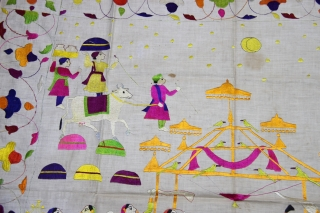 Chamba Rumaal.  A rare Rumaal hand-embroidered in the typical style of Chamba, Himchal Pradesh, India.  This Rumaal depicts a Wedding Ceremony, with the bride and gore sat under a tent, several attendants, palanquins, musicians,  ...
