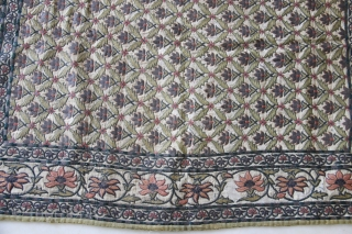 An excellent royal Mughal textile decorated with typical floral patterns all over. Thick silver strips have been used within the embroidery all over the textile.