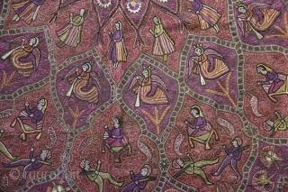 A fantastic large-size late-19th century Northern Indian textile richly embroidered all over in silk thread depicting maidens, servants, soldiers, fairies and floral motifs.
