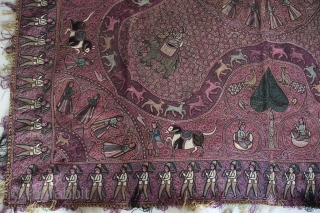 A wonderful large-size late-19th century North Indian textile decorated all over in silken thread depicting conversing couples, maidens, soldiers, horses, elephants, trees, peacocks, deer, birds and floral motifs all over. The piece  ...