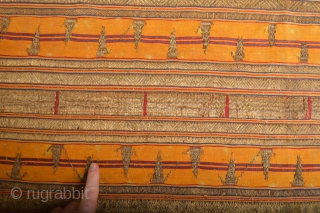 Very Rare Antique Yellow ground Sumatra Tapis with gold treads
