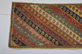 Beautiful and rare Type of Shahsavan Mafrash front panel. with diagonal flower patern are Music for the eyes:)  Mid 19th century all natural colors..