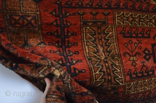 Mid 19th century Archaic patern Turkoman... All Natural colors and soft wool washed and cleaned by hand. more pict availible if interest...