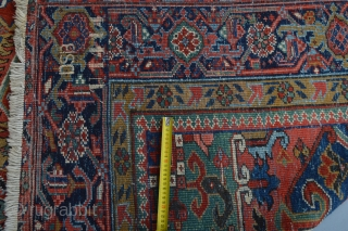 Music for the eyes circa 1920's Heriz area rug  Beautiful natural colors aproximately 370 x 260 centimeters. good pile some low spots washed and cleaned ready for use