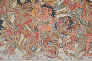 Colorful Old Kamasan ( near Bali )  Painted textile circa 1920's or  1930's 