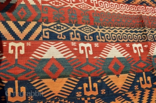 Uzbek Bird Migration.Very Nice Archaic Patern Soft and Heavy handling wool. Amazing Green and Blue.Good Variation and very Decorative end 19th century Tribal art in original condtion. Large size 371 x 211 cm