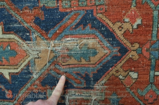 Beautiful antique circa 1900's Finely Knoted Heriz with Gorgeous all Natural colors... untuched no repairs evenly pile some wear as found as is .. size  aproximately 320 x 240centimeters