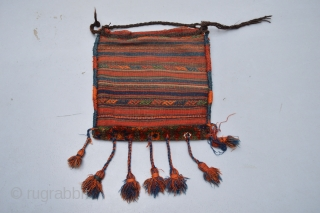 BEautiful Antique Kurdish Bag or Chanteh with Diamond patern. Full Pile and in Original Condition.