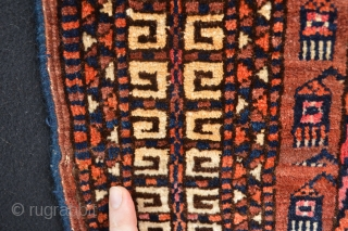 Late 19th century Saryk Tent Door fragment, Beautiful patern and generaly full pile. Very Decorative to hang as a tribal textile art. This fragment has a size 136 x 134 centimeters