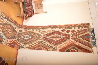 As found Beautiful Rare Patern Whiteground Anatolian Kilim 19th century 