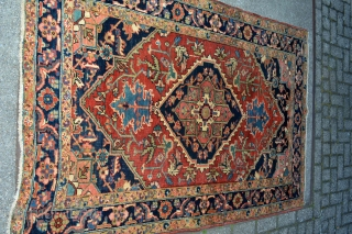 This lovely little rug from Heriz in north west persia was made in the first quarter from the 20 century circa 1900-1920.Good pile some low spots. not worn.Good natural colors. Rare in  ...
