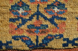 Gorgeous Antique Rare Yellow Ground Garus area  Kurdish Rug... Check the Rare Floral border with big ornaments...