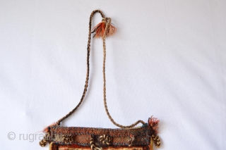 This Rare Full Pile  dimunitive Chanteh made by one of the south persian tribes has a beautiful patern and wool.. finely knoted,circa 1900's  size 22 x 22 cm or 8.6 x  ...