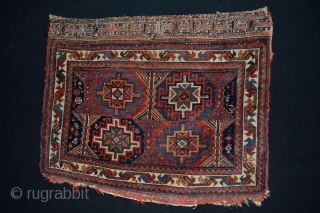 Colorful Antique Afshar Bagface end 19th century all Natural colors and Rare Memling patern Size 78 x 63 aprox 2.55 x 2.06 feet