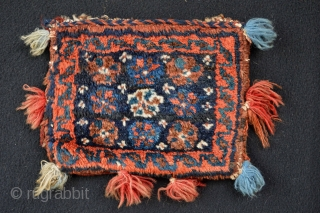 Dimutive Full Pile Rare Probaly Luri Chanteh circa 1900 size 22 x 17 centimeters Natural colors the tassels are from later period.