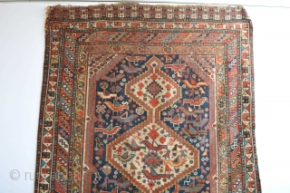 Colorful end of 19th century As found condition Khamseh Confederacy rug.