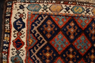 Full Pile end 19th century or circa 1900's Kurdish Bagface  Beautiful natural colors with top faded expencive fuchisine at the time.. one old patch.. nevertheless very actractive and collectible tribal kurdish art..