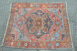 Beautiful from turn of 1900 Antique Some Called Serapi Heriz I think more Karadja area  large rug... All natural stunning colors size