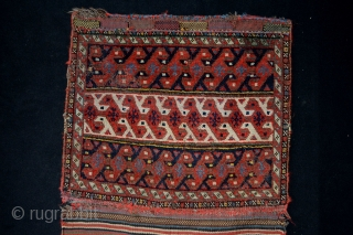 Beautifull and Rare type Qashqai Confedrecy Bagface with kilim back. 100% vegy colors. 61 x 110 with kilim back . Without kilim back size 61 x 52 centimeters