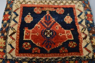 Beutiful Strong all vegetal colors , Full pile Kurdish Pillow  with original back Good age 19th century 51 x41 centimeters.