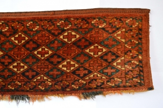 Beautiful rare patern Antique Turkoman Ersari Trapping full pile washed and cleaned size 118 x 33 centimeters ready to display