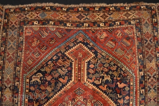 Stunning Antique Khamseh Confederacy Rug . Strong all natural  vegetable colors ,represent the tribal live at the end of 19th century with the goats, birds and animals :)