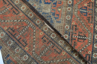 19th century Antique Rare type of Baluch symetrical knots As found distressed condition and wear areas