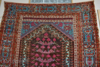Early 1800's West Anatolian rug Inscriptions from Holy Koran Beautiful strong colors.With Long Blue Dragon