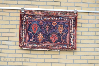 Very Colorful Antique Afshar Bagface good pile and good wool.