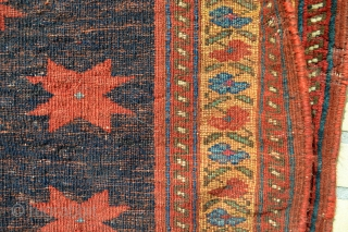 Qrayz Horses of Afshar!! Very Nice Antique ( circa 1900 ) Afshar Tribe Horse Cover with Inscect Dyed Highligts. 