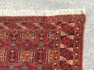 Antique Extreemly fine Turkoman bag front . Nice and good colors and So called kedjebe drawning. Full pile and good condition.. Two  of top side corner are old repaires. Truely a collector  ...