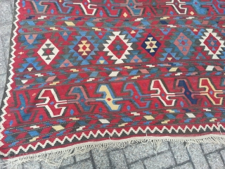 Antique Caucasian Oversize Kilim .Beautyfull collors and very nice design.