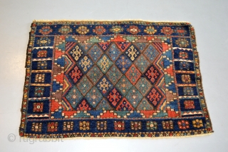 Circa 1900 large Jaff Kurd Bag face, Colorful and in mint condition. need a little wash. Original natural colors. and good pile. size 101 x 72 or 3.3 x 2.4 ft.