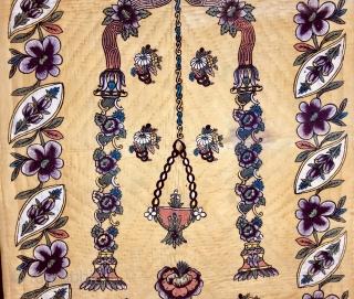 "Hand Block Printed Anatolian Quilt early 20th Century. 140x95 cm / 4'x""x3' 1"""