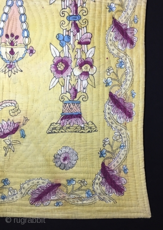 "Hand Block Printed Anatolian Quilt early 20th Century. 124x81 cm / 4'1""x2'8"""