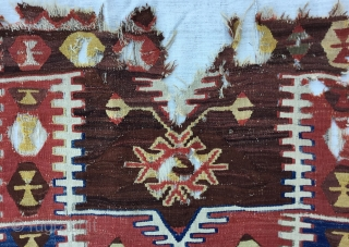 "Central Anatolian (Konya—Ladik)  fragment Kilim Circa 19th Size144x85Cm/4'9x2'10""/57x34inc"