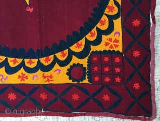 "Central Asian Tashkent Suzani—19th Century Size:240x220cm / 7'10""x7'3"""