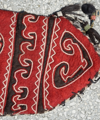 Uzbek Felt okbash 19th cent.with horse hair tassels Circa 1900