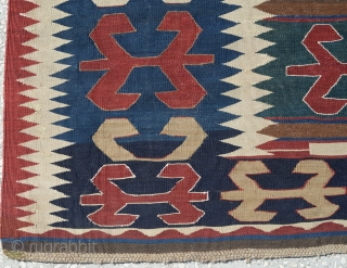 Caucasian Kazak Kilim, Circa 19th Century(some place had been repaired)
