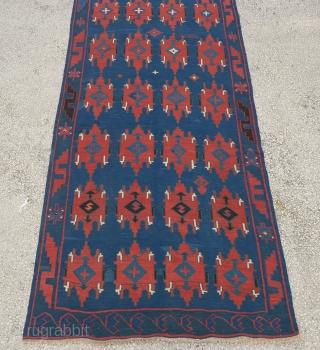 "Antique Caucasian Avar Kilim size:356x138 Cm 11'8""x4'9"""