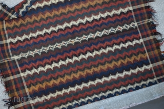 Qashkay Moj blanket Kilim In good colors,two small repaired Circa 1900th