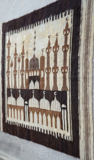Southeast Anatolian-early 20th century-Angora goat hair on cotton string warps-in good condition-unusual- Siirt Size:132 x 180 Cm