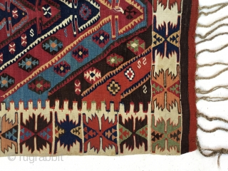 "East Anatolian Kilim Rug  End of 19th Century  Size:130X102cm / 4'4""X3'4"""