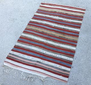 "Anatolian stripe kilim Circa 1900  Size:140x220cm / 4'8x7'7"""