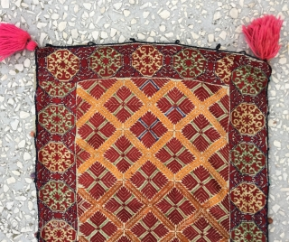 Pillow-Cover,Swat Valley(Pakistan). India.Cotton embroidered with floss silk.Circa/1900