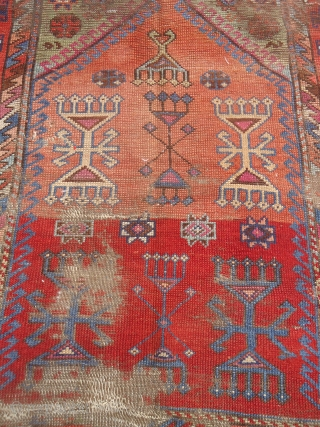 "Early Anatolian Prayer Rug Fragment with good colors and design.As found.Size 3'8""*3'4"".E.mail for more info and pics."