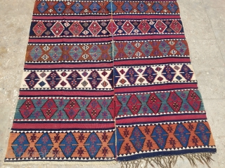 "Beautiful Anatolian Kilim with great natural colors,good design abd condition.size 9'2×4'10"".E.mail for more info and pics."