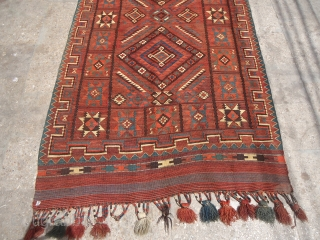 "Uzbek Mashkri Kilim with nice star motif pattern,and a donkey on it. around 1900, all wool with natural colours,Size 12'6""*4'8"".E.mail for more info."