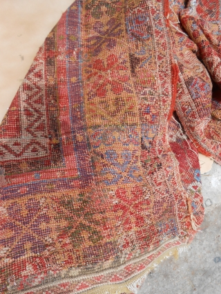 Early Anatolian Prayer Rug Fragment with beautiful colors and deisgen,good age.As found.E.mail for more info and pics.